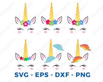 Unicorn svg file, Unicorn clipart, Unicorn head svg Unicorn face svg unicorn clip art svg eps png dxf