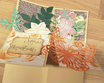 birthday card pop up flowers and Butterfly