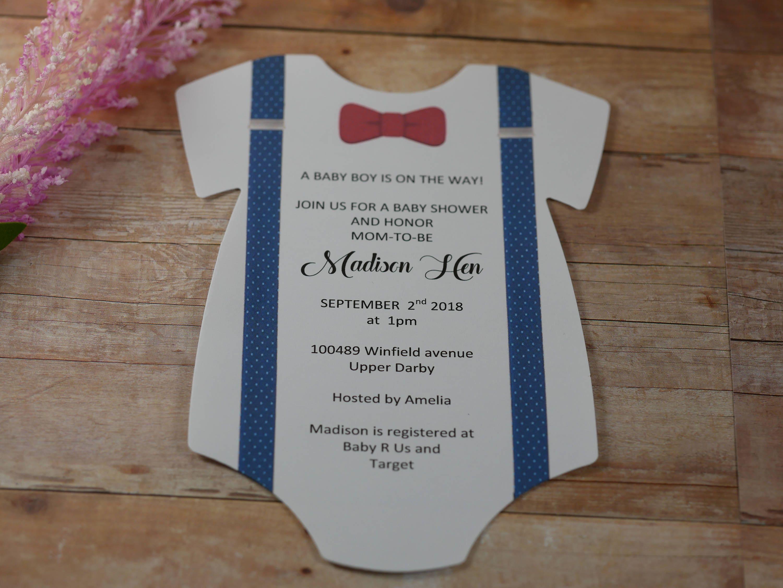 Baby Shower Onesie Invitation , Onesie invitation, Bow Tie ...