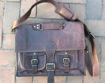 Vintage Leather Briefcase, Brown Leather Briefcase Men, Leather Bag, Leather School Bag, Hipster Briefcase