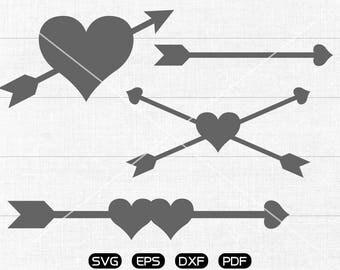 Arrow SVG, Heart Arrow svg, LOVE Arrow Clipart, Valentine's Day cricut, silhouette cut files commercial use