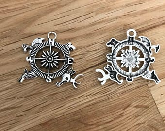 5 Tibetan silver compass charm with animal detail 36mm x 32mm