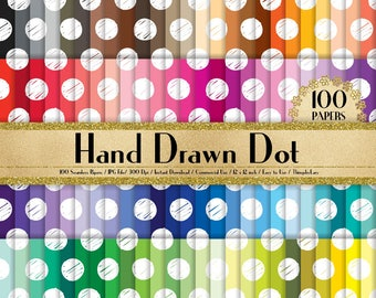 "100 Seamless White Hand Drawn Polka Dot Papers in 12"" x 12"", 300 Dpi Planner Paper, Commercial Use, Scrapbook Papers, Rainbow Paper"