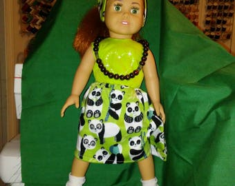 "18"" doll outfit of Lime green tunic and panda skirt with necklace of wooden beads"