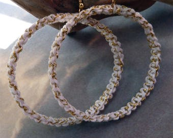White and gold braided hoop Maxi