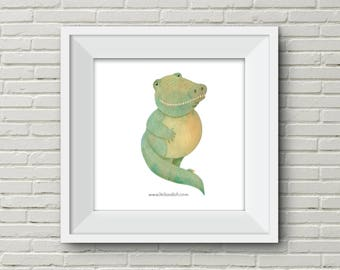 Downloadable Wall Art Modern Prints Animal Printable Nursery Art Print Crocodile Alligator illustration cute