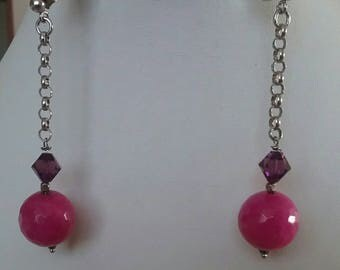 Briole pink agate earrings