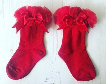 Tutu socks, red tutu socks, bow socks, baby socks, ruffle socks, baby ribbon socks, girls socks