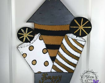Happy New Year Painted Wooden Fireworks Door Hanger, New Year Decor, New Years Decor, New Years Door Hanger, New Years Door Decor, Fireworks