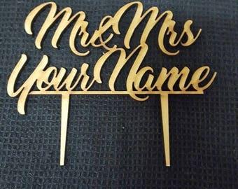 MDF Laser Cut Cake Topper  - Mr & Mrs (name)