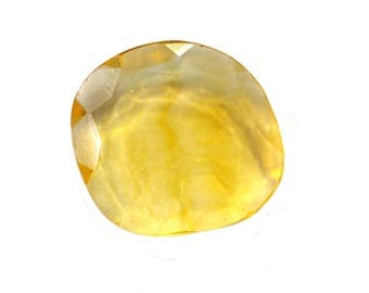 Fluorite Natural Beautiful Yellow Fluorite Both Side Faceted Polki 11.85 cts 17x18 mm For Designer Jewelry 3968