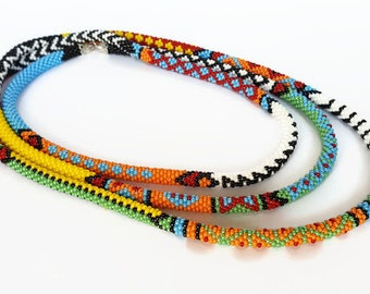 Long Necklace - Beads crochet Lariat -  Women Jewelry - Seed bead Rope - Gift - Jewellery - African stripe - Beadwork - Wrap Necklace
