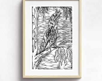 Original Linoprint~ Tawny Frog Mouth~ Australian Birds~ Handprinted~ Australian Art~30cm x 19cm~Birds~ Sacred Art~ Ritual~ Spirit Messenger