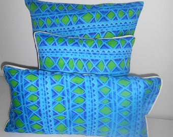 Blue and green batik pillow covers
