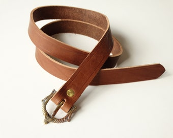 Leather belt with buckle viking 121cm