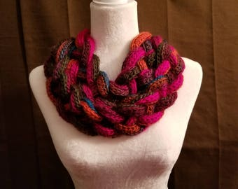 Handmade double braided crochet cowl winter scarf