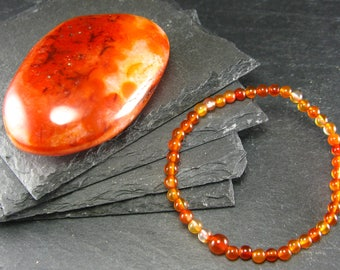 Carnelian Genuine Bracelet ~ 7 Inches  ~ 4mm Round Beads