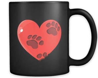 Valentines Day Mugs - Heart with pet paws on Black Ceramic Mug 11oz