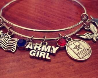 US Army Girl Charm Bracelet Silver Steel