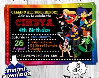 Dc Superhero Girls invitation, dc superhero Birthday, dc superhero invites, dc superhero PDF, dc superhero instant, invitation dc superhero
