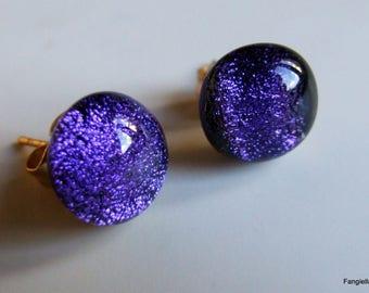 Purple stems dichroic glass Stud Earrings gold
