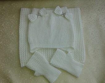Knit hat fingerless scarf set wristwarmers knited teen gift set knit girls set