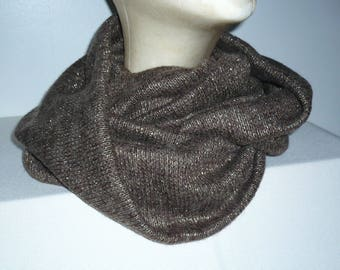 Brown Snood and lurex knit mesh mechanical