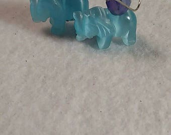 Elephant Earrings - Blue Earrings - Fiberoptic Earrings