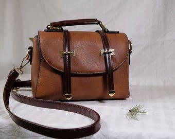 women's brown matt leather handbag, small size with multi compartment, detachable strap