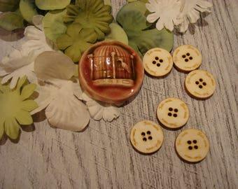6 buttons 1.5 diameter 1932 embellishment wooden creations