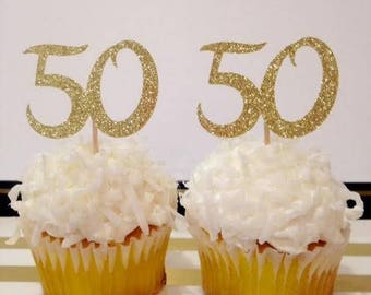 50th Birthday Cucpake Toppers / Milestone Birthday / Custom Cupcake Toppers in Sparkling Glitter!