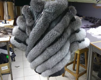 Real Silver Fox Fur Poncho With Leather