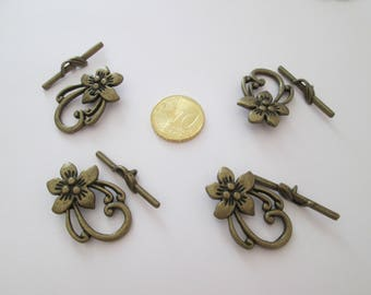 4 fermoir toggle fleur en métal bronze