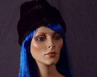 Vintage 1970s Hat - Faux Fur Diplomat Cossack Hat- Faux Fur Winter Hat