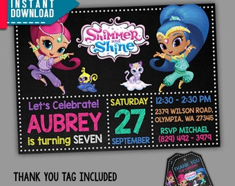 Shimmer and Shine Invitation, Shimmer and Shine Birthday, Editable PDF Template, Instant Download, Editable Invitation, FREE Thank You Tags