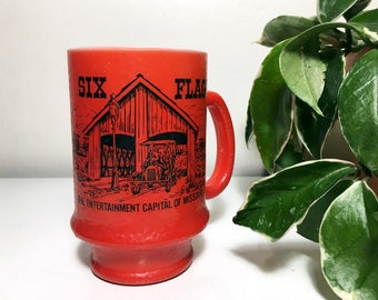 Vintage Six Flags Milk Glass Mug