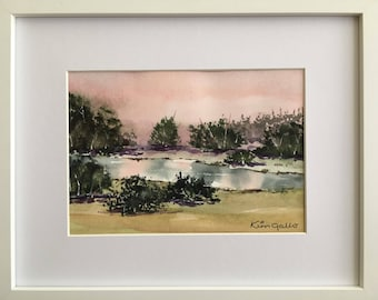 Sunset Reflections 2, Framed Original Watercolour Painting