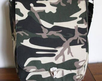 Unisex Messenger bag in cotton camouflage