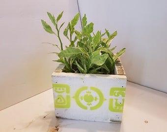 Wood Planter box, Wood box with mystical Mayan, Lime green planter box, wedding center piece, re purpose wood box, office gift, flower box