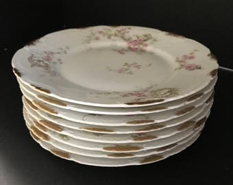 Set of EIGHT Vintage Theodore Haviland Limoges Bread/Luncheon Plates