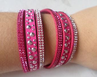x 1 fuchsia multi strand pattern rhinestones/studs silver 40 cm leather bracelet