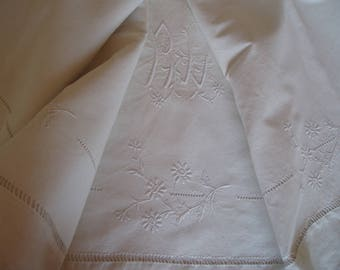 Old cloth embroidered with flowers and Monogram