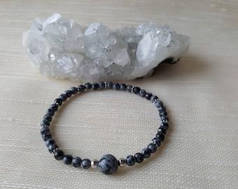4mm Snowflake Obsidian bracelet  - Root chakra/Muladhara