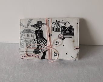 "Jewelry Kit for travel, ""la parisienne"" heavy cotton on bottom ivory, padded and lined in pink cotton"