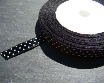 1 m of black satin with white polka dots Ribbon