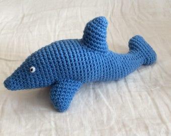 Fully crocheted Blue Dolphin