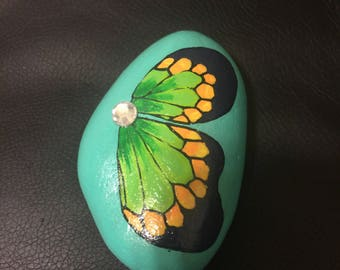 Hand Painted Butterfly River Rock