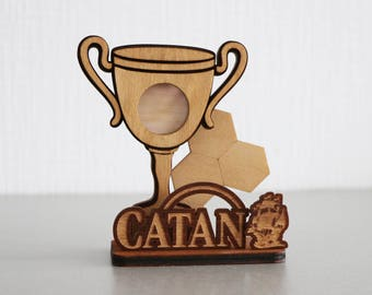 Settlers of Catan | Cup. Gift for gamer. Handmade. Custom, Wood, Laser Cut. Board Game Pieces. In stock.
