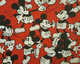 Mickey Mouse Twin Red Fitted Sheet Vintage Fabric