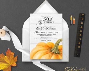 Pumpkin Birthday Invitation Fall Birthday Invitation Printable Pumpkin Invite Party Invitation Rustic Invitation Yellow Invitation Editable
